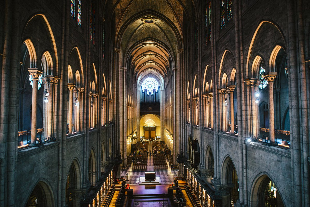 View of the interior of Notre Dame as it was.