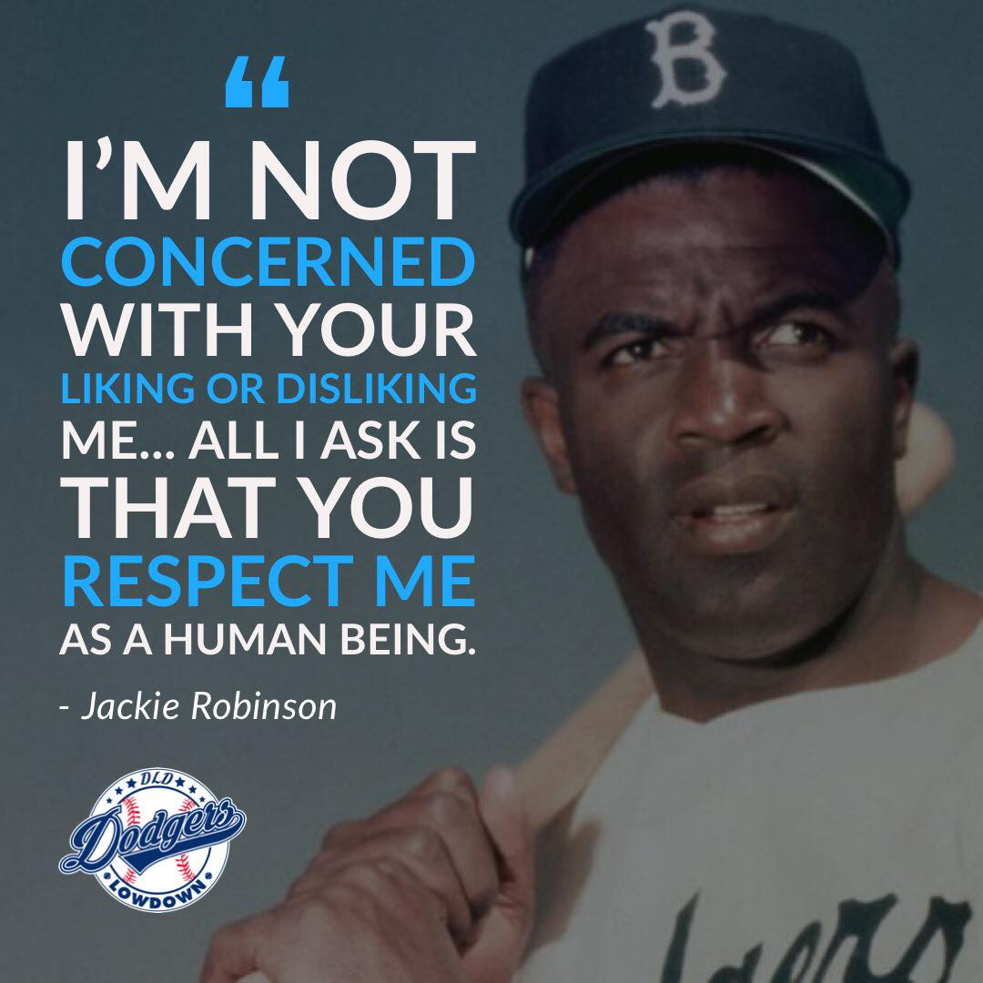 &quot;I&#39;m not concerned with your liking or disliking me... All I ask is that you respect me as a human being.&quot; -Jackie Robinson  #ThankYouJackie #Jackie42<br>http://pic.twitter.com/xvtzl9Da2d