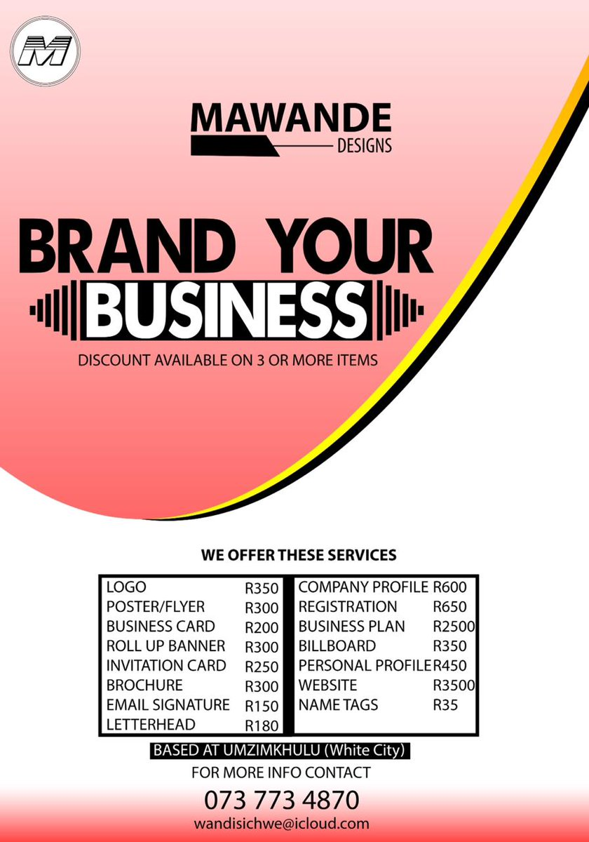 Work in silence  Package for your company  Company Profile | Logo | Letterhead | Business Card design | Email signature all at R750 40% deposit required. CONTACT DETAILS  DM @wandzRSA WhatsApp 0737734870 Email wandisichwe@icloud.com #WandiHustling <br>http://pic.twitter.com/ijuDnVSk4B