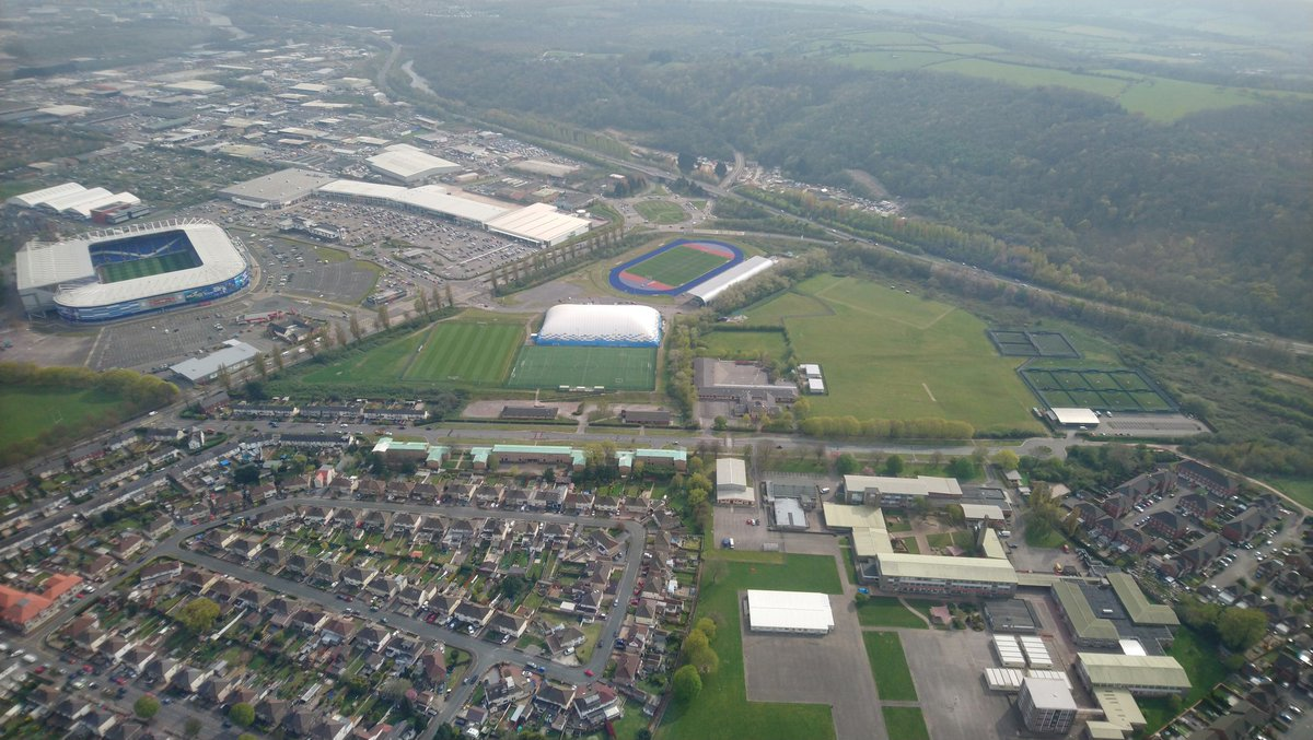 @HouseofSportCDF playing fields and @CardiffCityFC from the air today @SteveCMB