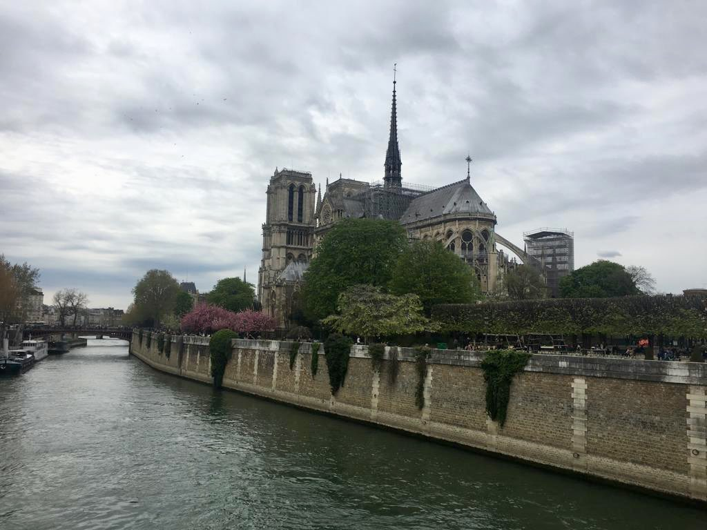 Just last Sunday at this incredible piece of architecture with the beautiful spire standing proud. So sad #NotreDameCathedral #Paris