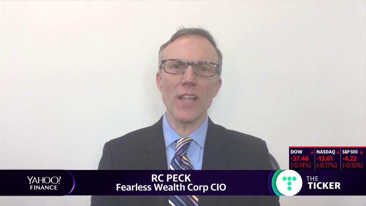 "Highlight: @FearlessWealth CIO RC Peck on the markets: ""I see a market that wants to go higher … the market needs dovish speak, it needs low interest rates, it needs buybacks. When that gets taken away, then we're going to really see how strong this market is."" Full interview:"