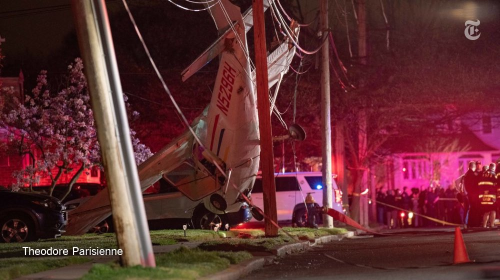 """""""They found the plane dangling from the utility cables, nose down, hovering as if freeze-framed a second before tragedy.""""  It's miraculous that this plane crash wasn't worse. https://www.nytimes.com/2019/04/15/nyregion/plane-crash-valley-stream.html…"""