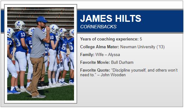Meet the Coach Monday!  Next up is our Cornerbacks coach @CoachHiltsAHS 🔵⚔️🔵