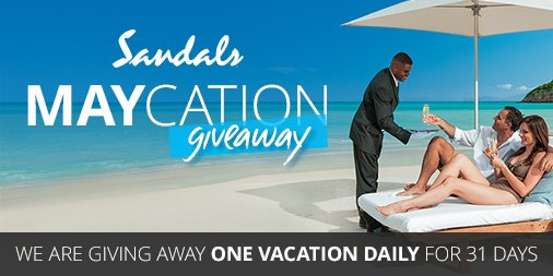 GIVEAWAY TIME May is the month to appreciate people that rock! In honor of #MothersDay, #TeacherAppreciationWeek, #NationalNursesDay, and #MilitaryMonth we are awarding 31 people the chance to win a #SandalsResorts #SandalsMaycation. Learn more:  https://www. sandals.com/maycation/  &nbsp;  <br>http://pic.twitter.com/3onkMSIIKZ