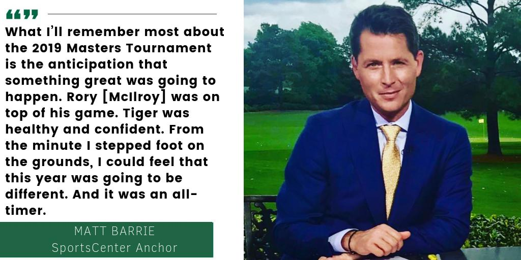 SportsCenter anchor @MattBarrie shares what he will remember most from @TigerWoods' 2019 #TheMasters victory   More on ESPN's continuing coverage: http://es.pn/2IkYuak