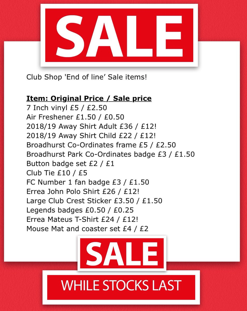 The Club Shop SALE continues with items having huge discounts! We also have our newer items in stock! 🇾🇪  WorldWide🌍 Delivery is available!  Order online from: http://www.fcumshop.co.uk/showpage.php?page=page1 …  Or call in at Broadhurst Park this week Tue-Thurs 9am-5pm or Call 0161 769 2005 9am-5pm.