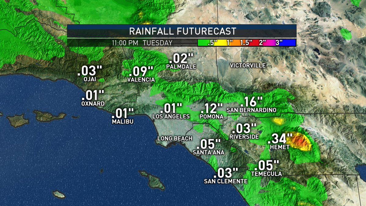 Rain is back in SoCal Tuesday. It won&#39;t be heavy and will drop temperatures by a few degrees. #NBCLA #LARain <br>http://pic.twitter.com/e6EYOGaf7w