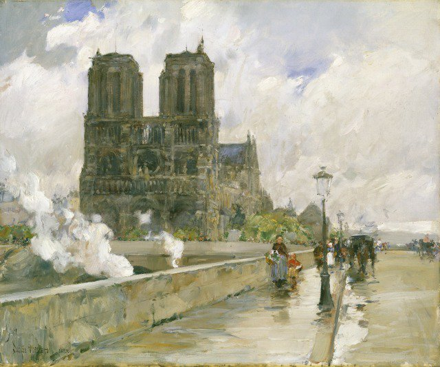 Childe Hassam, Notre Dame Cathedral, Paris, 1888, oil on canvas. Detroit Institute of Arts.