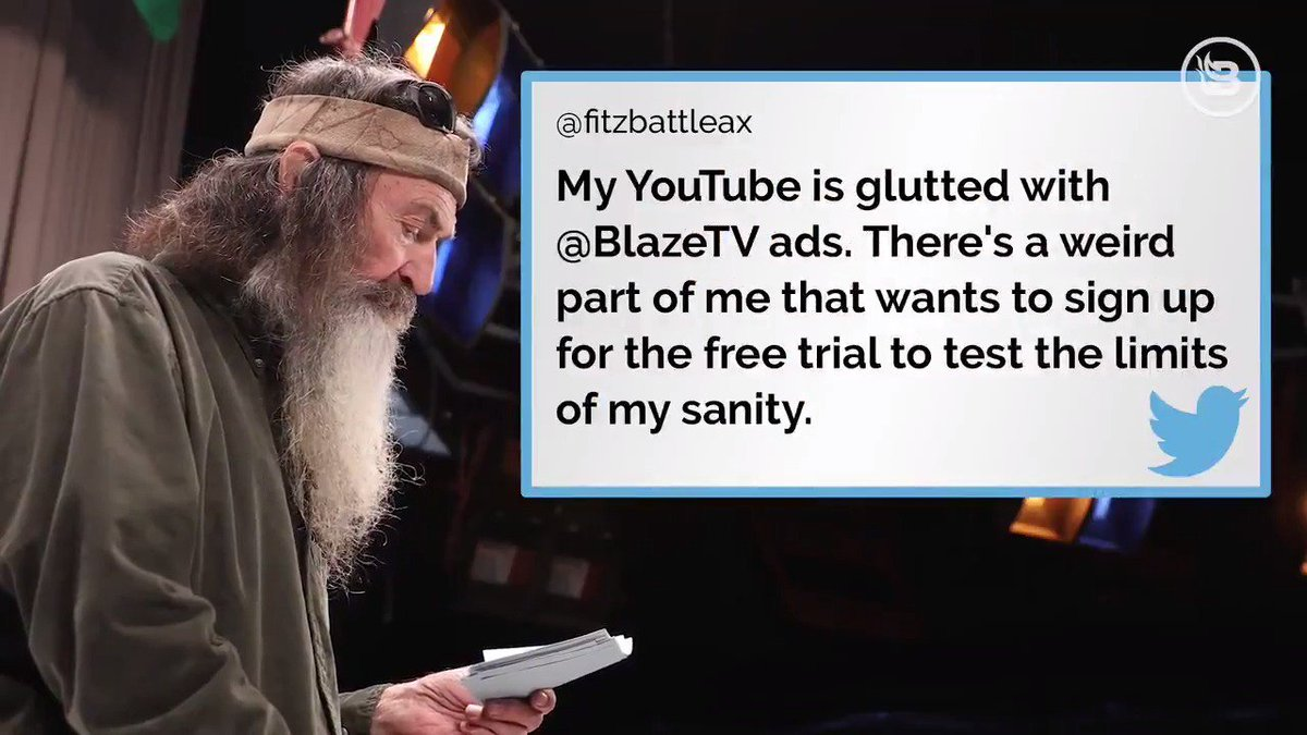 """This is the first time in 72 years I've ever read anyone's tweets!""  Phil Robertson (@DuckCommanderPR) reads mean tweets...and his responses are hilarious!  (BONUS: Use code PHIL for $10 off subscription ==> http://blazetv.com/phil   )"