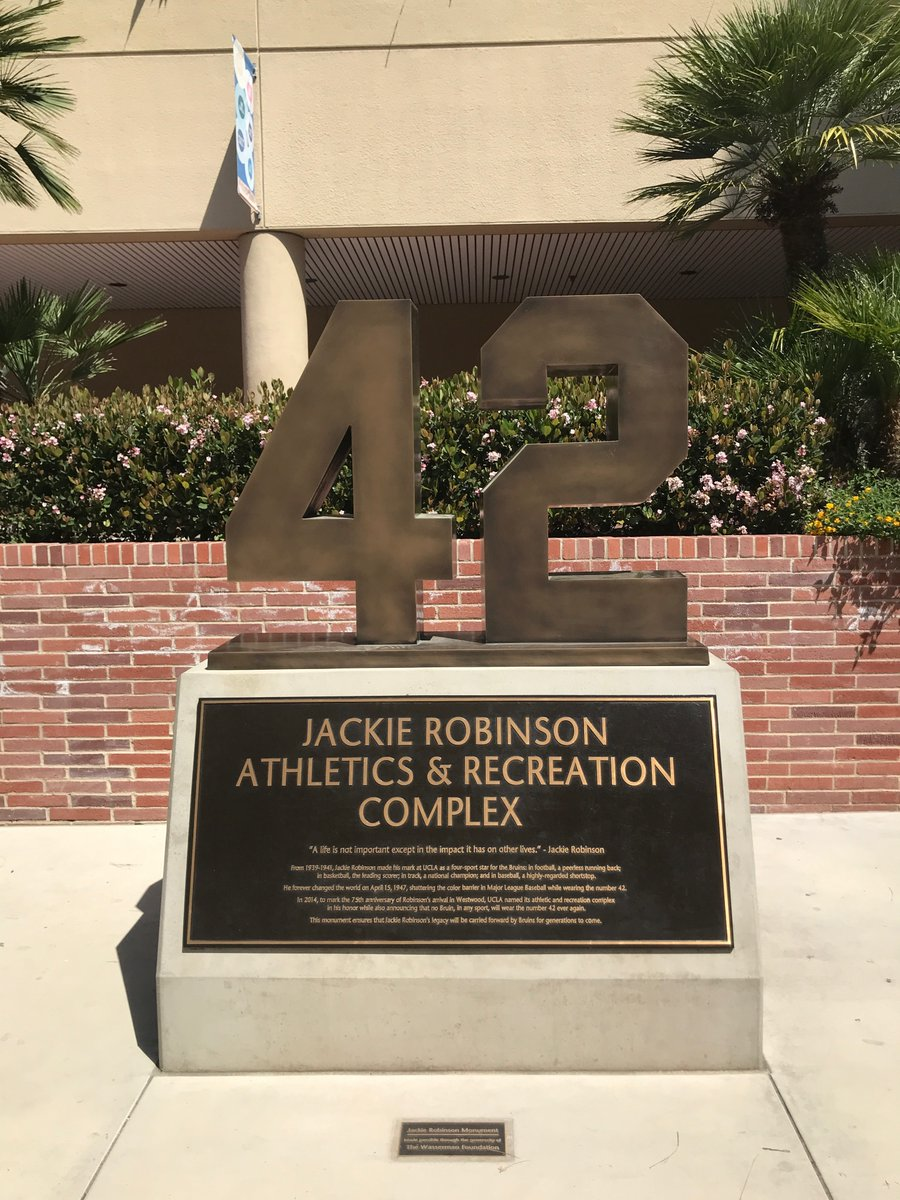 When Jackie Robinson stepped onto Ebbets Field 72 years ago today he changed the world by shattering the color barrier in @MLB. He also made his mark at UCLA as a four-sport star for the Bruins in football, basketball, track and baseball. Today we celebrate his legacy. #Jackie42 <br>http://pic.twitter.com/kcmdPXnAgP