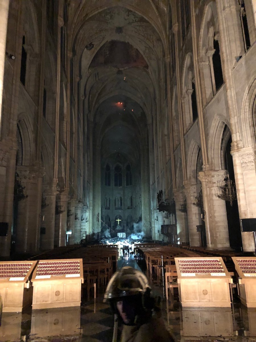 Inside #NotreDame. Only a small part of the vault collapsed. Interior seems relatively untouched. Alleluia!