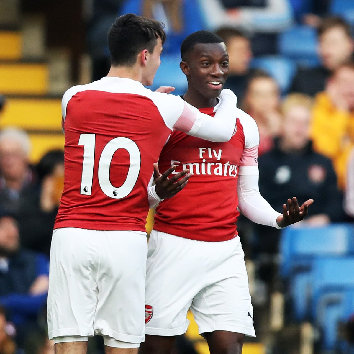Eddie Nketiah scored twice as Arsenal defeated Chelsea in #PL2 last night.  Both goals were great.