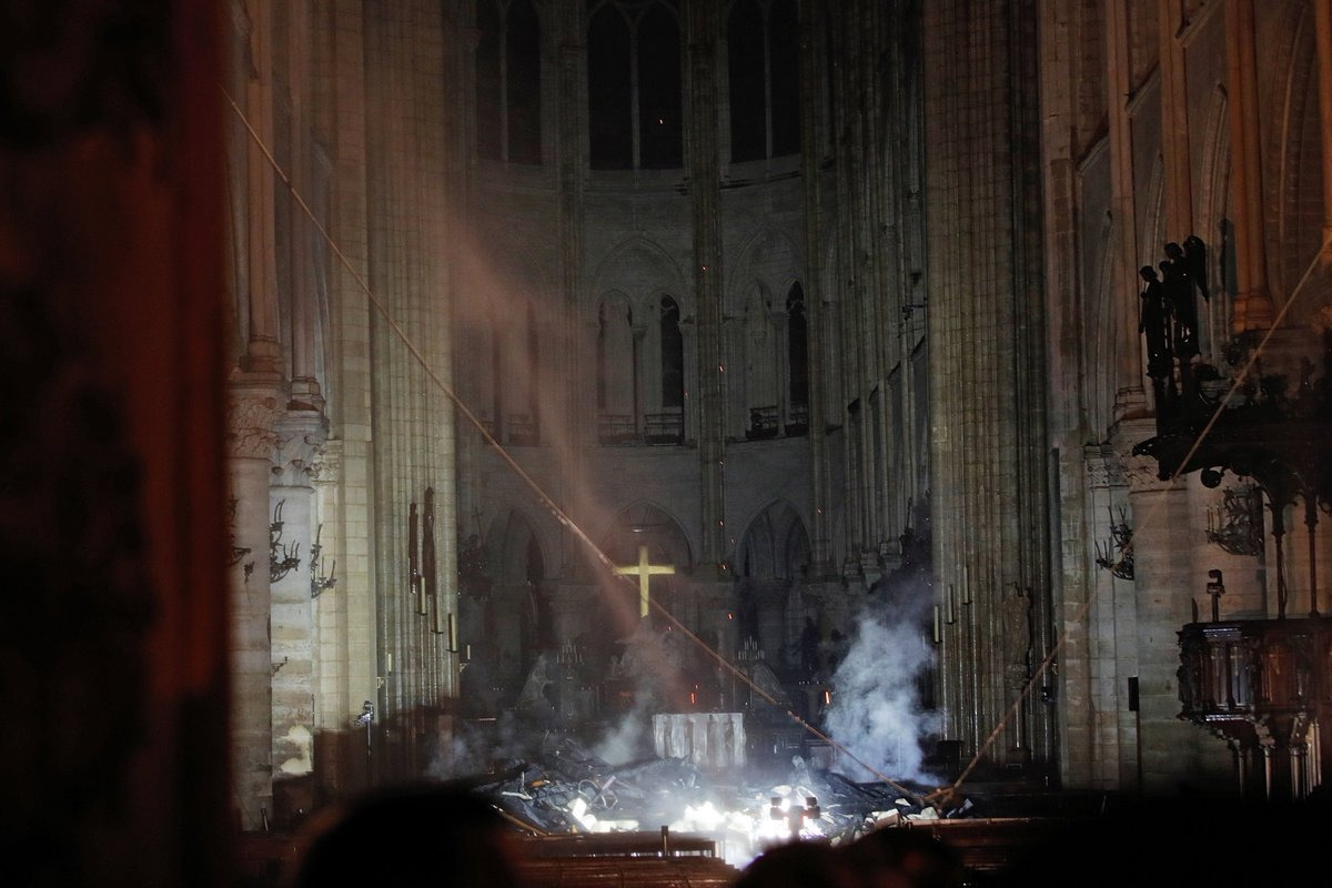 Crazy photo of the altar inside Notre Dame, by Reuters' Philippe Wojazer
