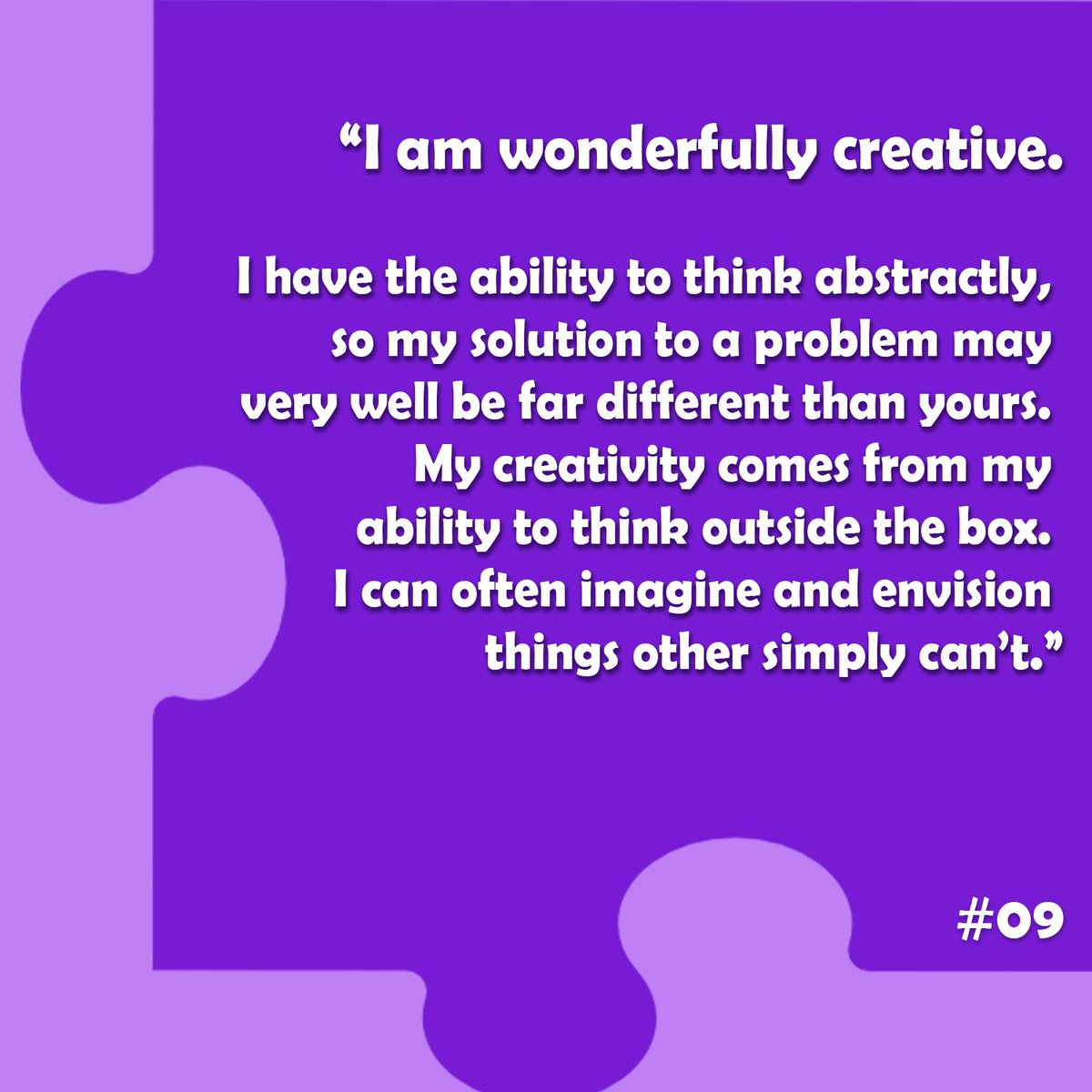 Our countdown of Things Anyone on the Spectrum Will Tell you About the Unique Way They See the World continues...here&#39;s number 9! #autismawarenessmonth #worldartday <br>http://pic.twitter.com/WBJvhDI6ls