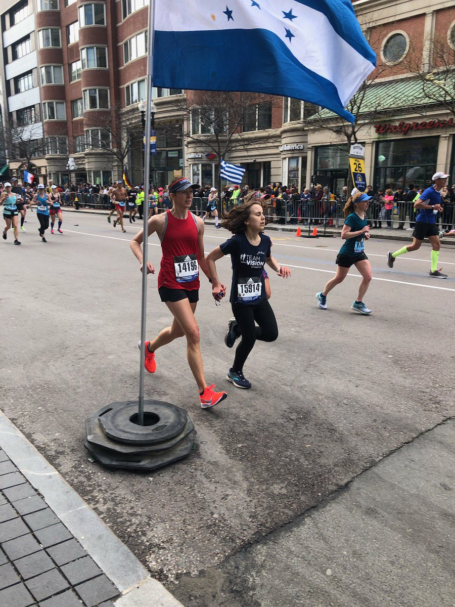 An amazing thing happened as I was finishing my first @bostonmarathon today. With 1.5 miles to go, I was asked to run in a blind runner because her guide wasn&#39;t feeling well. A few month&#39;s ago, I read @petersagal&#39;s book on #running and channeled his experience! #BostonStrong <br>http://pic.twitter.com/u64ZU7UZgt