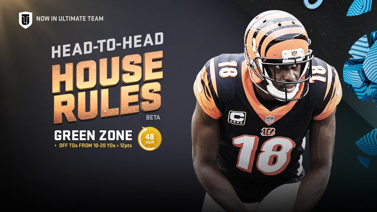 """Green Zone"" House Rules event coming to #Madden19 tomorrow!   New #ColorSmash A.J. Green too!"