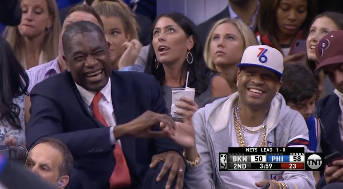 .@officialmutombo and @alleniverson all smiles when Boban scores  <br>http://pic.twitter.com/z0hDtUA8Nl