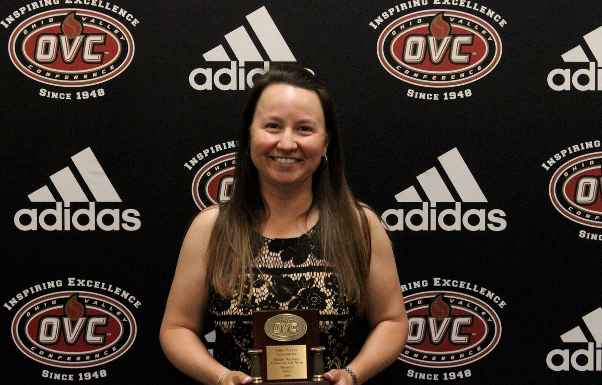 .@EKUWGolf first-year head coach Mandy Moore (@mandyMGmoore) was named the 2018-19 Bobby Nichols OVC Coach of the Year.