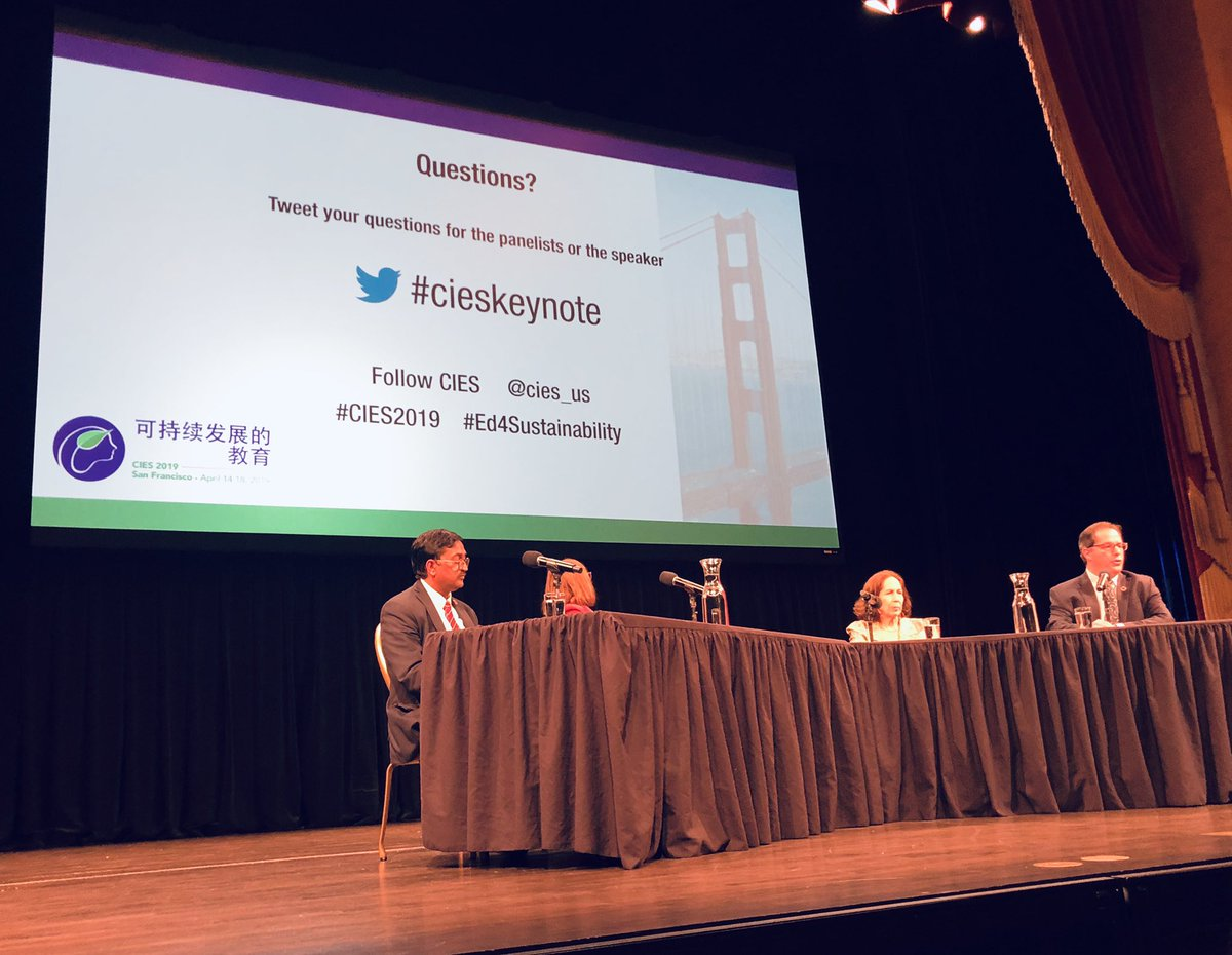 Keynote and plenary session is underway at the historic Herbst Theatre where the UN charter was signed in 1945. #CIES2019