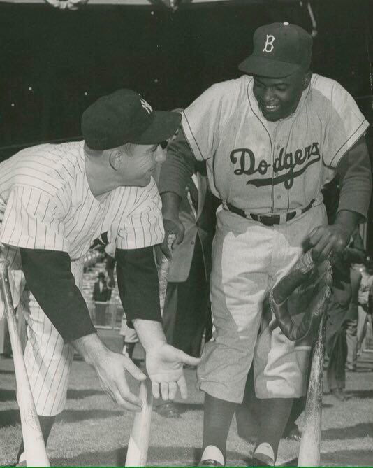 """Old Days""A year later,the Yankees Yogi Berra seems to be explaining to The Dodgers Jackie Robinson that he was ""OUT"" in his 1955 World Series Steal of Home.#Dodgers #Yankees #NYC #hof #1950s #Jackie42 #JackieRobinsonDay <br>http://pic.twitter.com/rnVpEWKDOc"