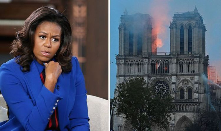 Photos Capture Michelle Obama on Dinner Cruise the Moment She Finds Out Notre Dame Cathedral On Fire