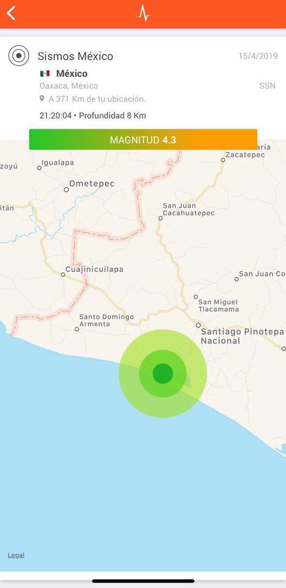 SSN calcula magnitud 4.3 con epicentro a 17 km al suroeste de Pinotepa Nacional, Oaxaca.  Detectado por @RedSkyAlert con intensidad «moderada» en epicentro.
