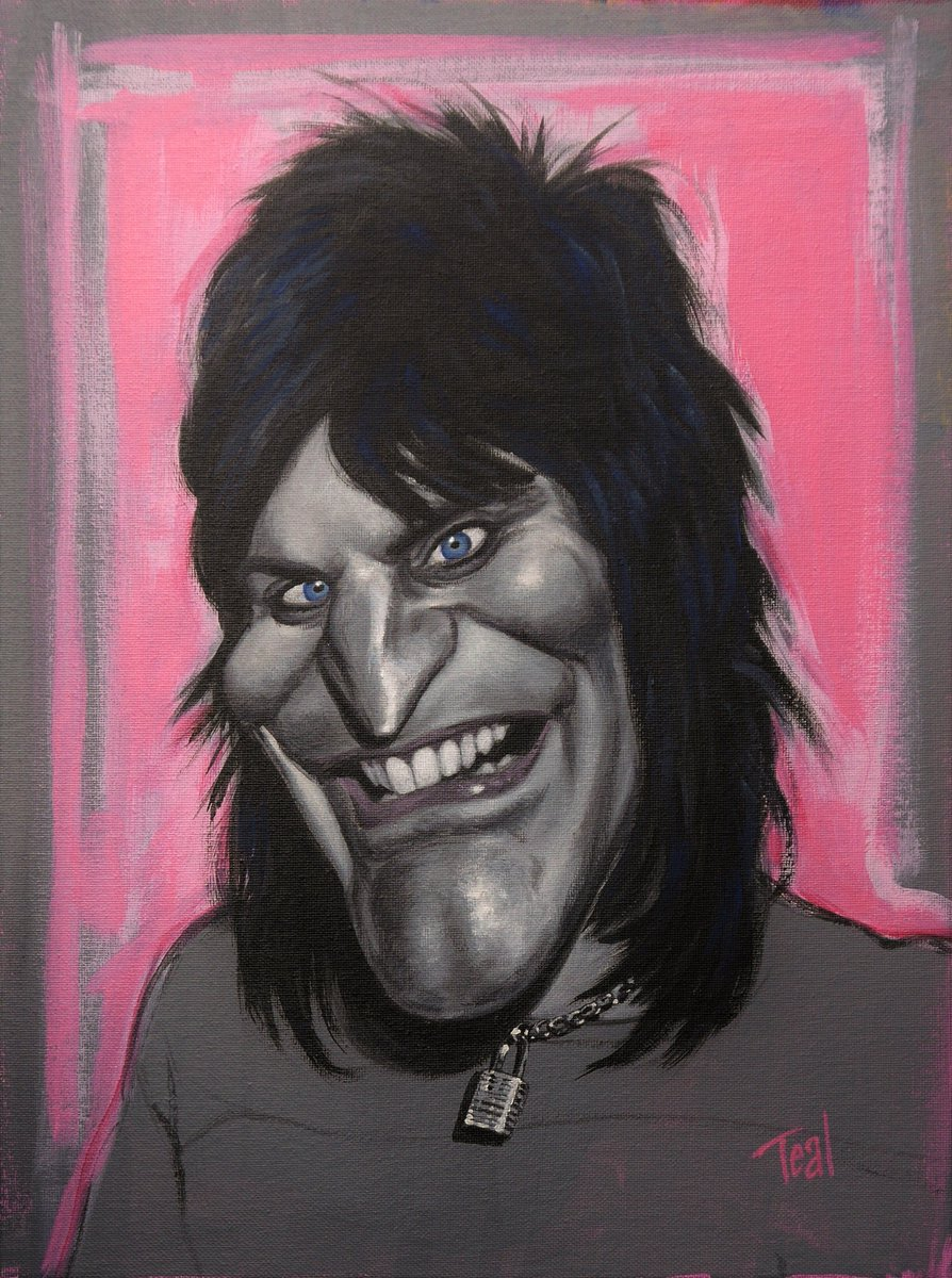 I finished my painting of Noel Fielding / @noelfielding11. I agreed with the general Twitter consensus that the hair needed to be painted in, and I added a neck-chain, but otherwise I left it a little sketchy as I think it's more lively that way. #caricature