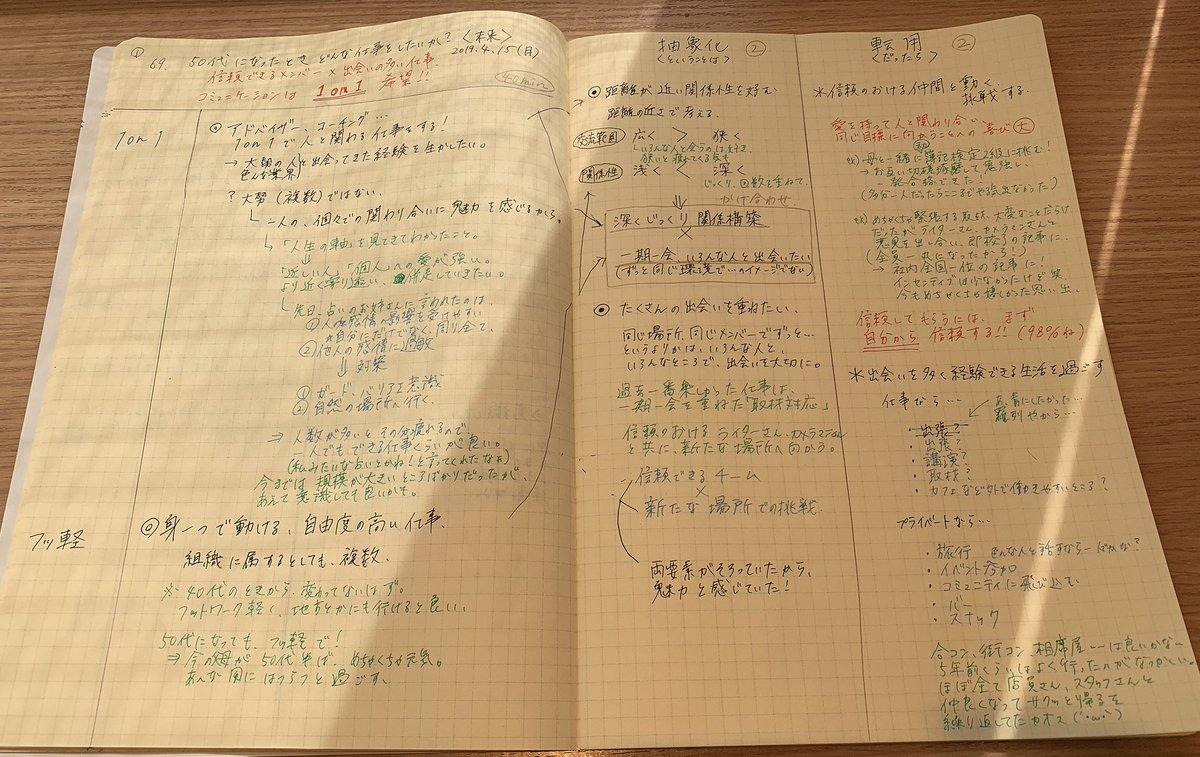 自己分析69問目、遂に50代へ!#東京メモ魔会 で昨日書き始めたもの。転職活動中の自分にタイムリーな仕事について☺️これまでの経験を思い返す、良いきっかけになった。両親と同世代の未来。これまでより、不思議と書くのがワクワクする。#前田裕二 @UGMD#メモの魔力#1000問ノック#メモ魔道