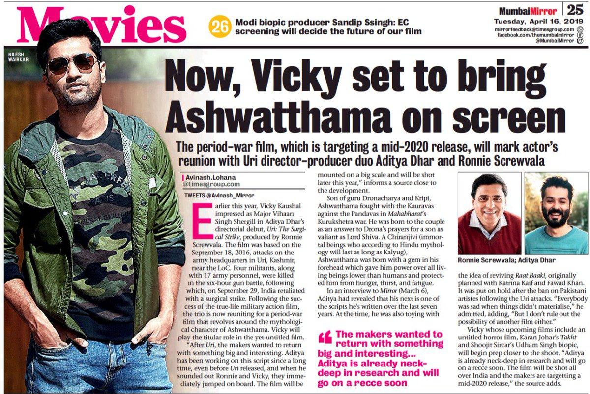 Continuing to keep the josh high, team #URI is back with #Ashwatthama!  @vickykaushal09 @RonnieScrewvala @AdityaDharFilms