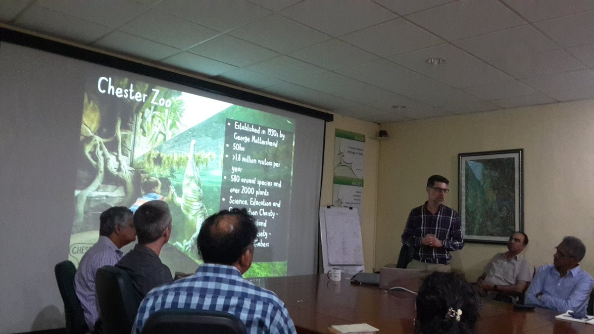 All staff listening to @SdowellSimon of @chesterzoo at #WTI hq today. Happy to work together on #Assam haathi project in the #Manas landscape on much needed human #elephant #conflictmitigation @vivek4wild