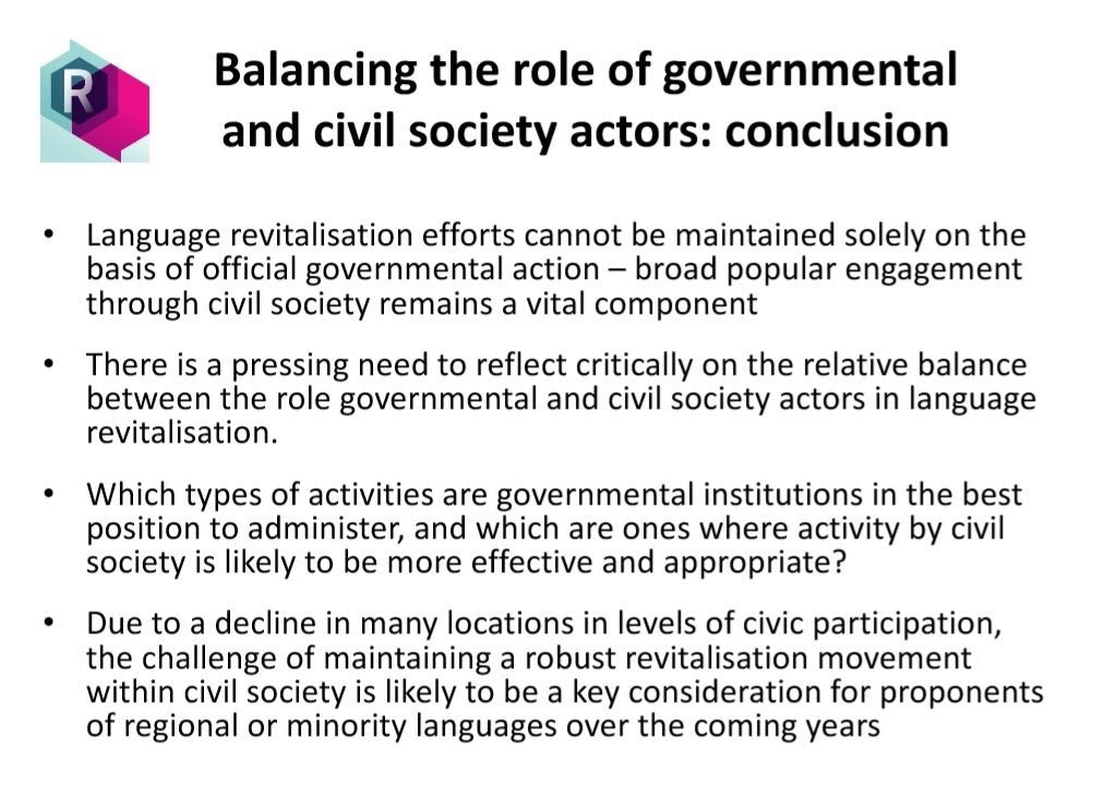 Key conclusions from @_revitalise project show importance of civil society as driver for effective language revitalisation. #ELEN2019 @paulbilbao   Full reports here:  http://revitalise.aber.ac.uk/en/resources/briefing-reports/?fbclid=IwAR08bZ31q5Zq4xxA1dGAggGncCe_KUhAVgWGRlqc_qm-RxnN_RsRYkhideA…