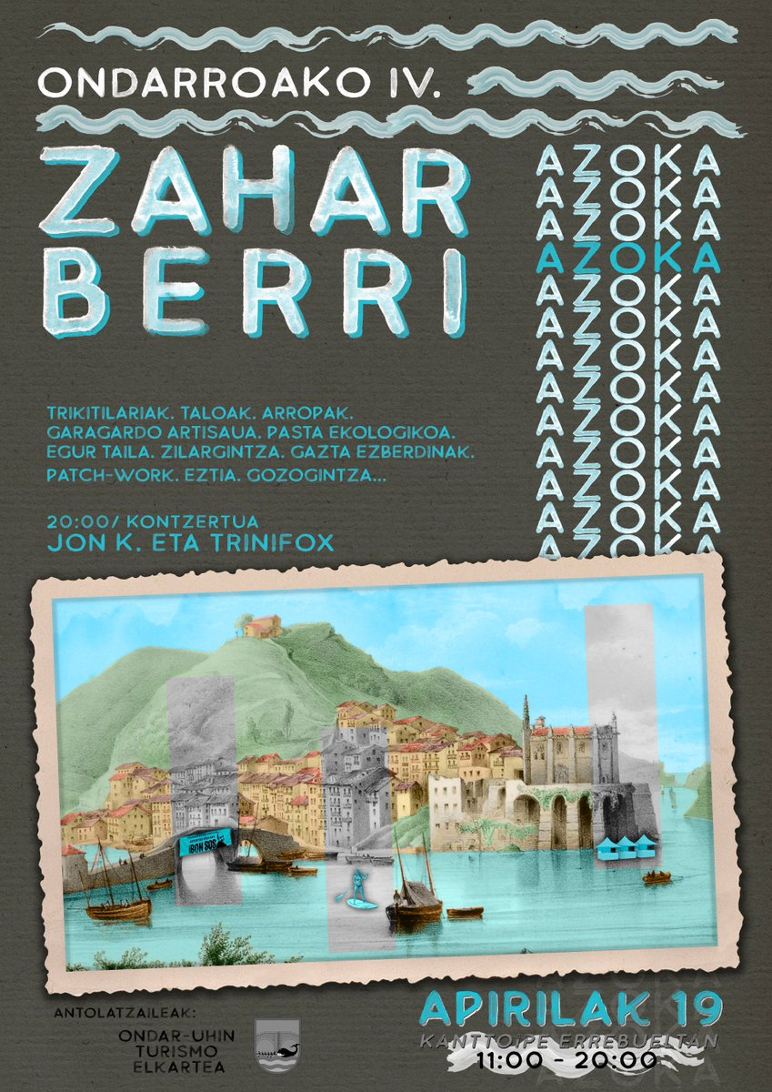 Bihar IV Zahar Berri Azoka ospatuko dugu Ondarroan. Egun osoko egitaraua izango dugu produktu artisauez eta euskal kulturaz gozatzeko aukera ederrarekin.