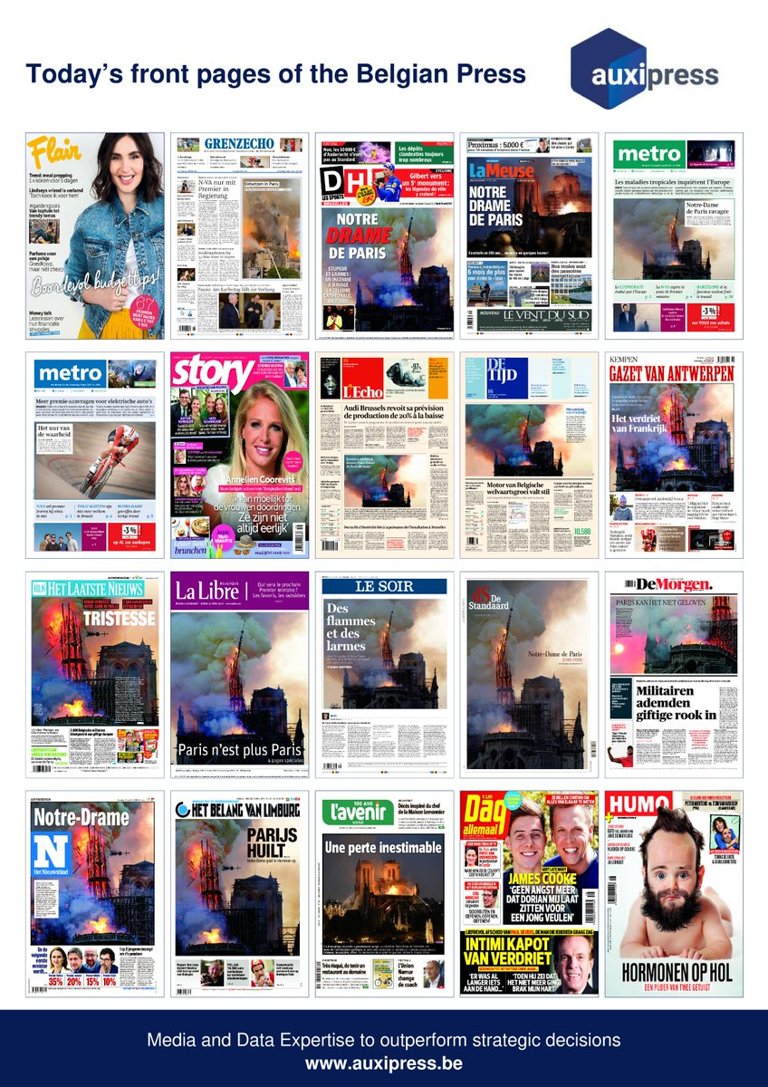 #Newsoftheday 📰💡📝- Discover today's front pages of the #BelgianPress ! #GardenGoals #Bundesliga #NotreDame #IncendieNotreDame #Paris #PhotoOfTheDay #RSCL #RSCA #Proximus  #EnergieVerte #Green #Llorana #TropicalDiseases #GuillaumeMusso #VictorCampenaerts #Trump #JamesCook