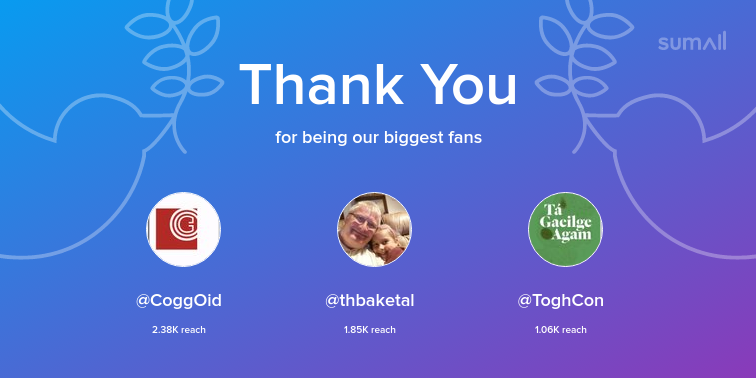 Our biggest fans this week: @CoggOid, @thbaketal, @ToghCon. Thank you! via https://sumall.com/thankyou?utm_source=twitter&utm_medium=publishing&utm_campaign=thank_you_tweet&utm_content=text_and_media&utm_term=8bbd5ebb61543c6842e2142e…