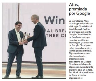 """Atos galardonado como el """"Google Cloud Global Breakthrough Partner of the Year"""" - via..."""
