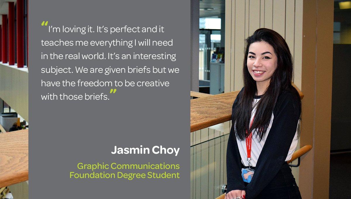 Our range of creative foundation degrees give you the opportunity to gain vital industry experience, just like our Graphic Communications FD Student, Jasmin.  Learn more about our higher education courses here: http://bit.ly/2jAMfu9