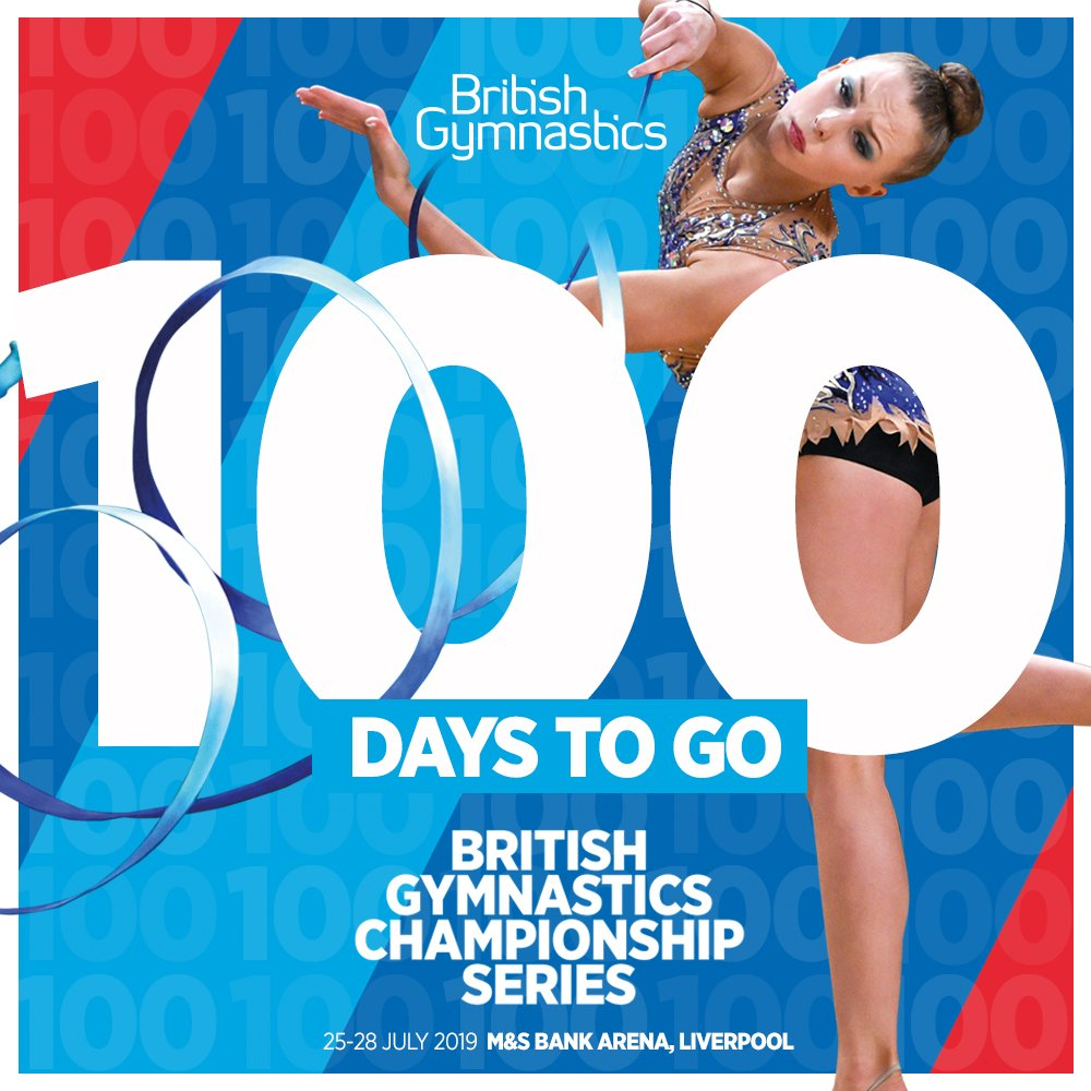 There's only 100 days to go until the 2019 British Gymnastics Championships 🇬🇧   Be there to see acrobatic, aerobic, rhythmic and TeamGym gymnasts compete for British titles 🙌🏆 #2019British   Tickets ➡️https://bit.ly/2UC88vP