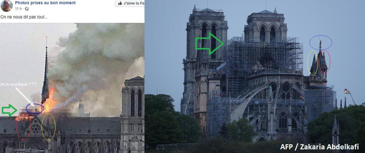 La photo de gauche circule depuis hier soir, certains laissant entendre que cette personne est à l'origine de l'incendie de Notre-Dame. Il s'agit en réalité de la Vierge du trumeau du portail du Cloître, la seule grande statue de portail non détruite pendant la Révolution 1/