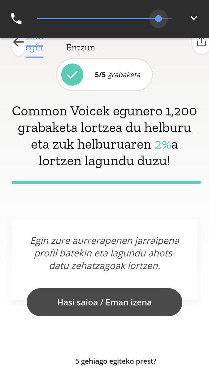 #GoogleAssistantEuskaraz #SiriEuskaraz #CortanaEuskaraz  @Librezale |k jarritako gaurko  helburua betetzeko apur bat falta da oraindik, animatu eta parte hartu , erraza da eta: https://voice.mozilla.org/eu