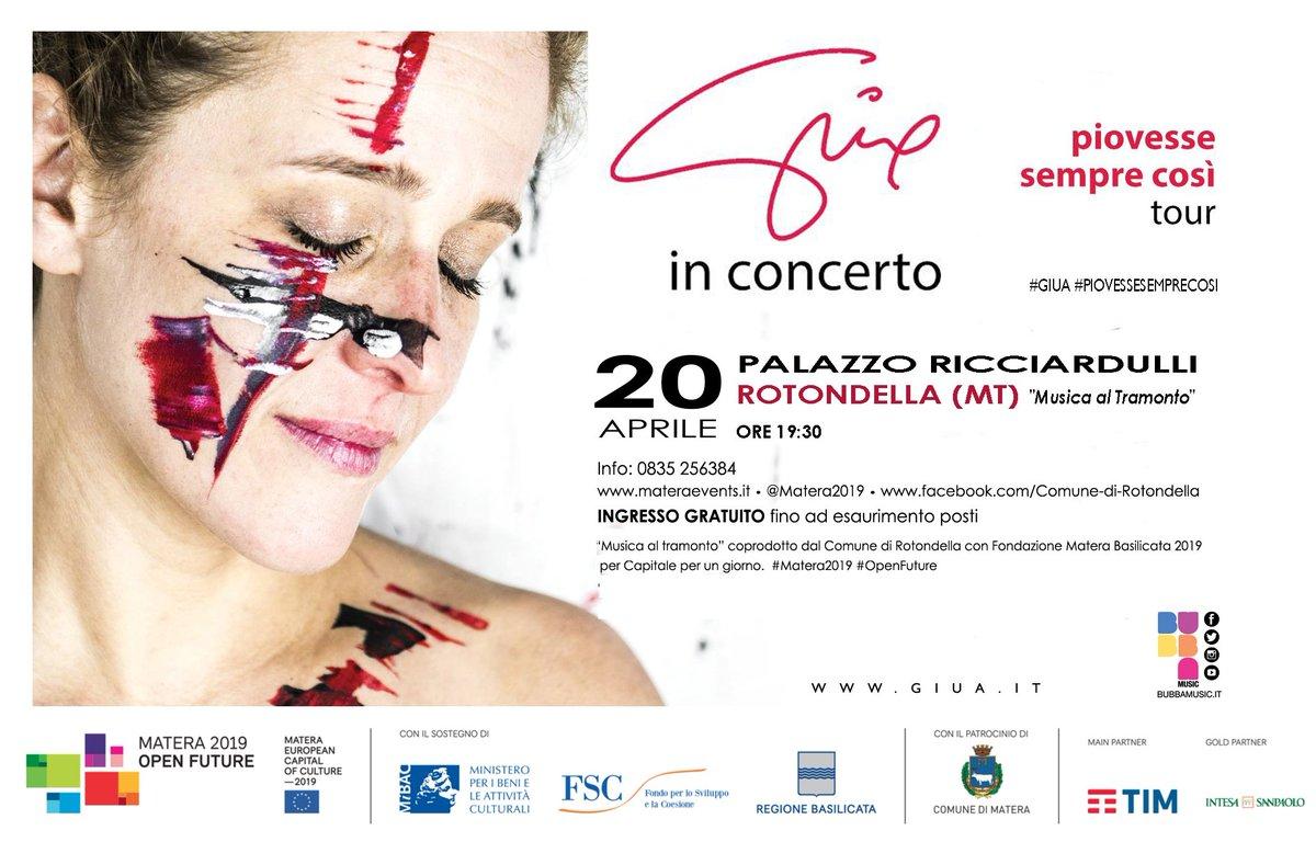 Giua in concerto il 20 aprile a Rotondella Capital...