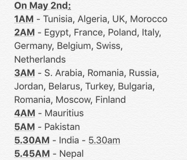 The schedule for this years&#39;s BBMA #BTS_BBMAs    Red carpet - 1~2 hours prior to main show   8PM ET (official)  Asian - May 2nd: 4AM - UAE 5.30AM - India 6AM - Myanmar 7AM - Thailand, Indonesia, Vietnam 8AM - Malaysia, Philipines, China, Singapore, Brunei 9AM - Japan, Korea <br>http://pic.twitter.com/tip969kH67