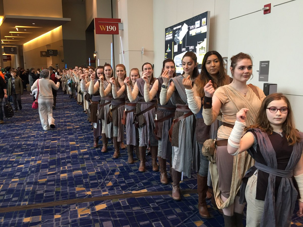 We loved seeing all of the Reys at #swcelebration as multiple mirror images #starwars