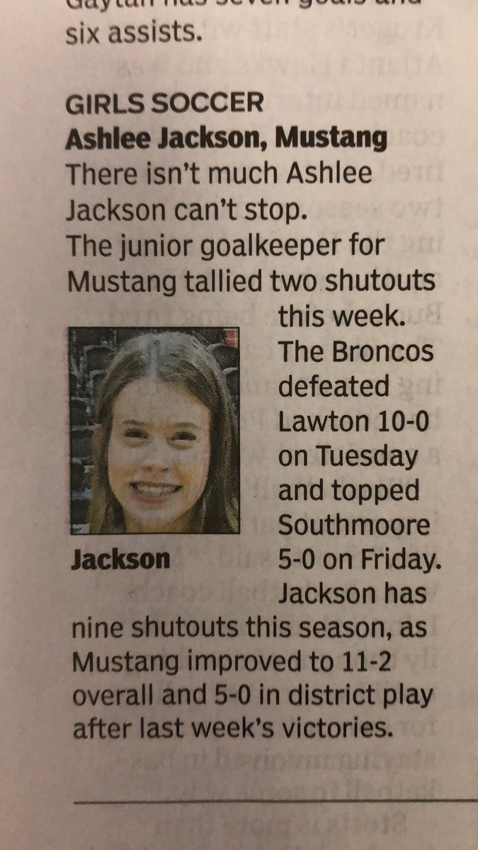 Congrats to Ashlee Jackson being named to the All-City Preps by the @TheOklahoman