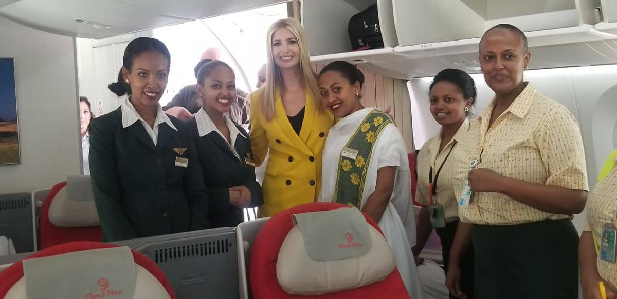 Ivanka Trump Advisory to the President of The United States Of America, On board of Ethiopian Airlines. <br>http://pic.twitter.com/wm5lQ9ujIZ