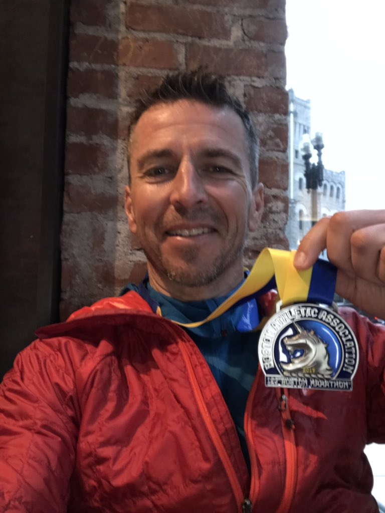 I did it. I'm a #BostonMarathon finisher. I am appreciative of the sore muscles today as a reminder of what I've just accomplished #amazingspectators #bostonmarathon2019 <br>http://pic.twitter.com/0lHcSfrbna