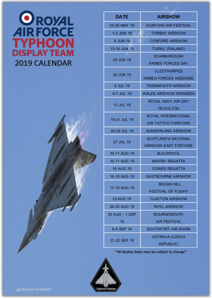 On Wednesday's @ForcesRadioBFBS Totally Connected Show we continue our series on @RAFConingsby. In part three @RAFTyphoonTeam Pilot for 2019 Flt Lt Jim Peterson @TyphoonDisplay shares how it feels to display for a second year and what to look forward to #phoonTime #typhoondisplay