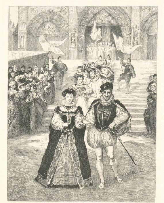Mary Queen of Scots and King Francis ii of France (King Consort of Scotland) outside Notre Dame Cathedral in Paris after they were married in 1558.