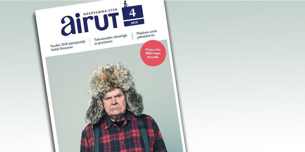 Airut 4/2019:n kannessa vuoden ääninäyttelijäksi valittu Heikki Kinnunen Mielensäpahoittajan roolissa. Hänellä on yrmeä ilme ja päässään karvalakki sekä päällään punamusta ruutupaita.