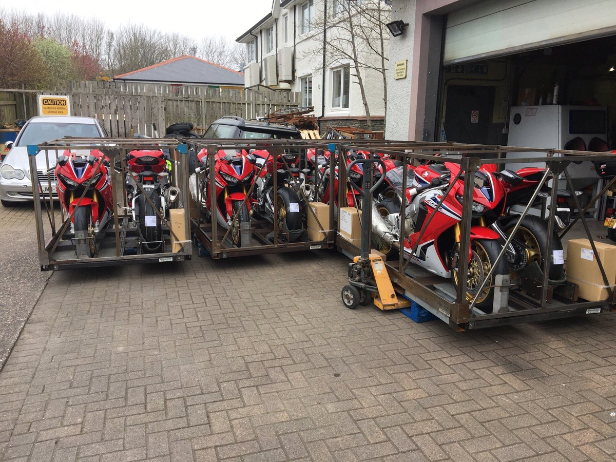 Honda Fireblades for TT Marshall's have just arrived, something must happening soon!! #isleofman #iomtt #TT2019<br>http://pic.twitter.com/dthJf4y4hW